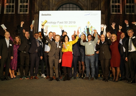 Die Sieger des 'Technology Fast 50 Awards 2019' in Hamburg (Quelle: Deloitte)